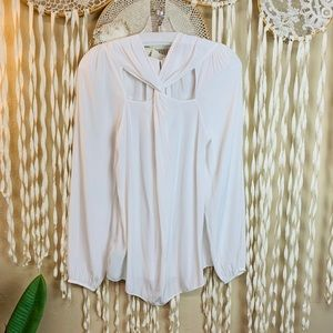 Ramy Brook Off White Long Sleeve Reversible Blouse